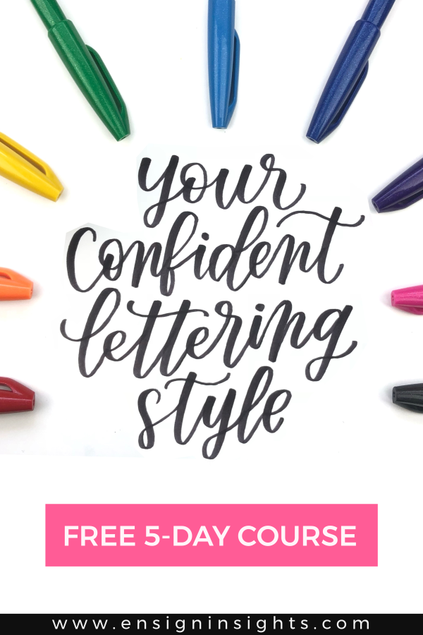Free hand lettering course to help you create your own confident lettering style. In this course, you will learn how to create your own alphabet. | Ensign Insights