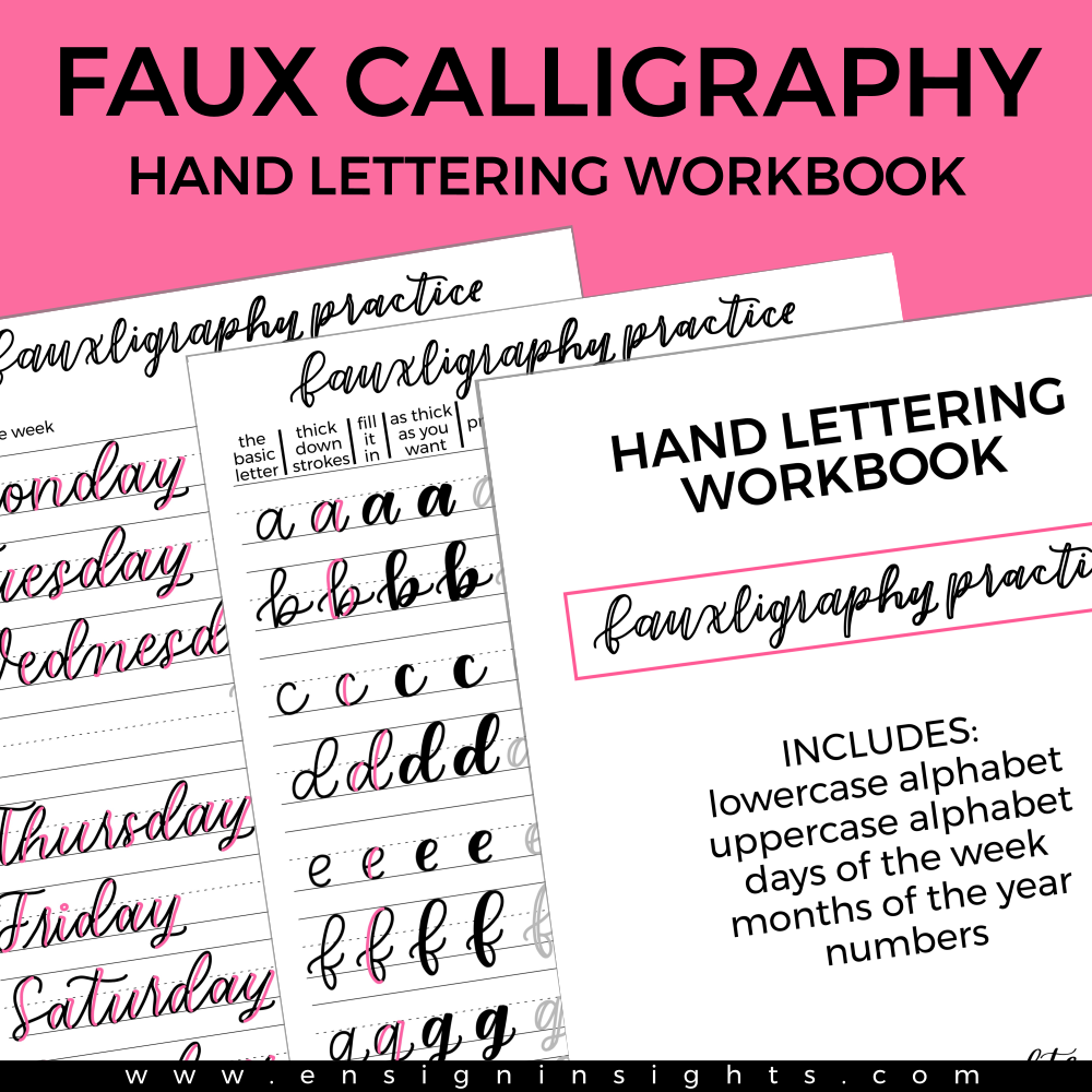 Faux Calligraphy Practice Workbook