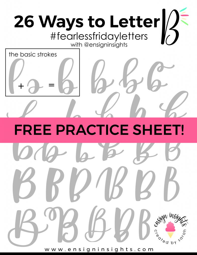 hand letter b 26 ways free lettering worksheet