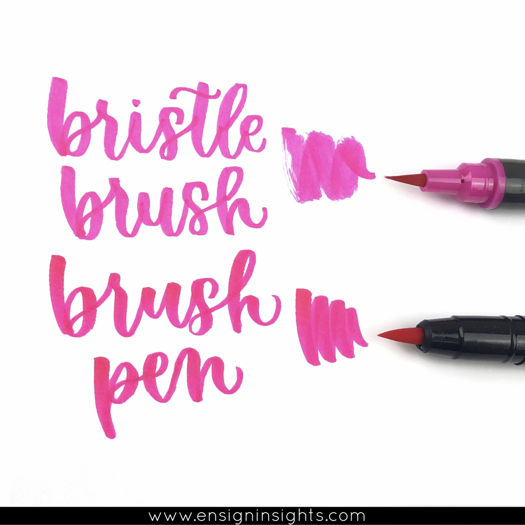 The difference between a brush pen with and without bristles