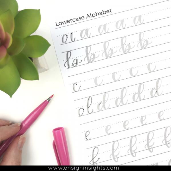 hand lettering for beginners lowercase alphabet worksheet