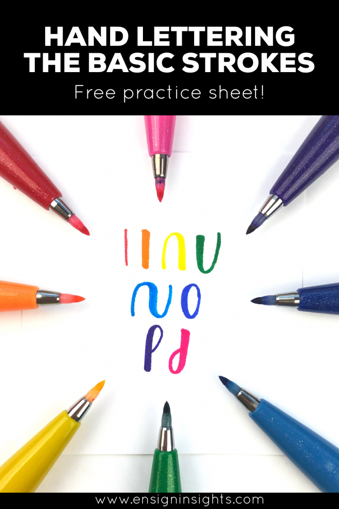 free hand lettering worksheet calligraphy strokes chart
