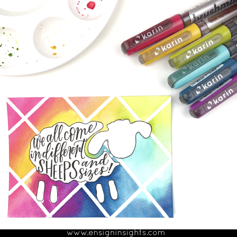 sheep pun hand lettered quote rainbow blend with karin markers