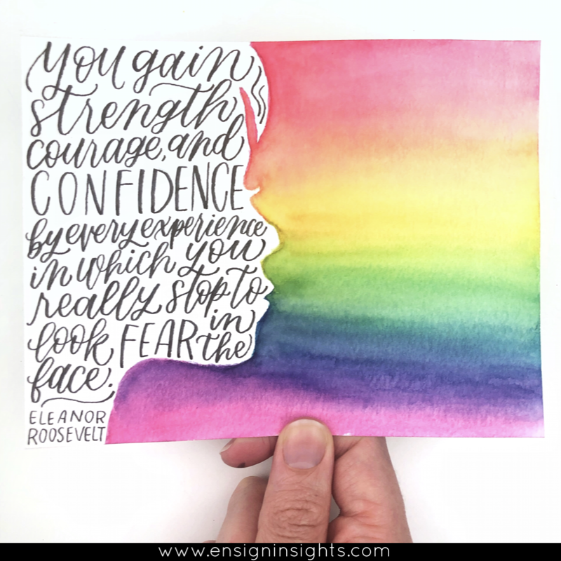 eleanor roosevelt quote hand lettered with rainbow