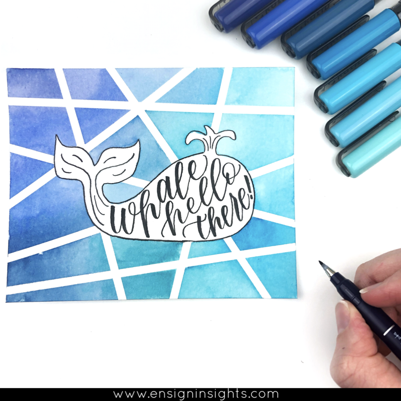 whale quote hand lettering quote using karin markers brush pens
