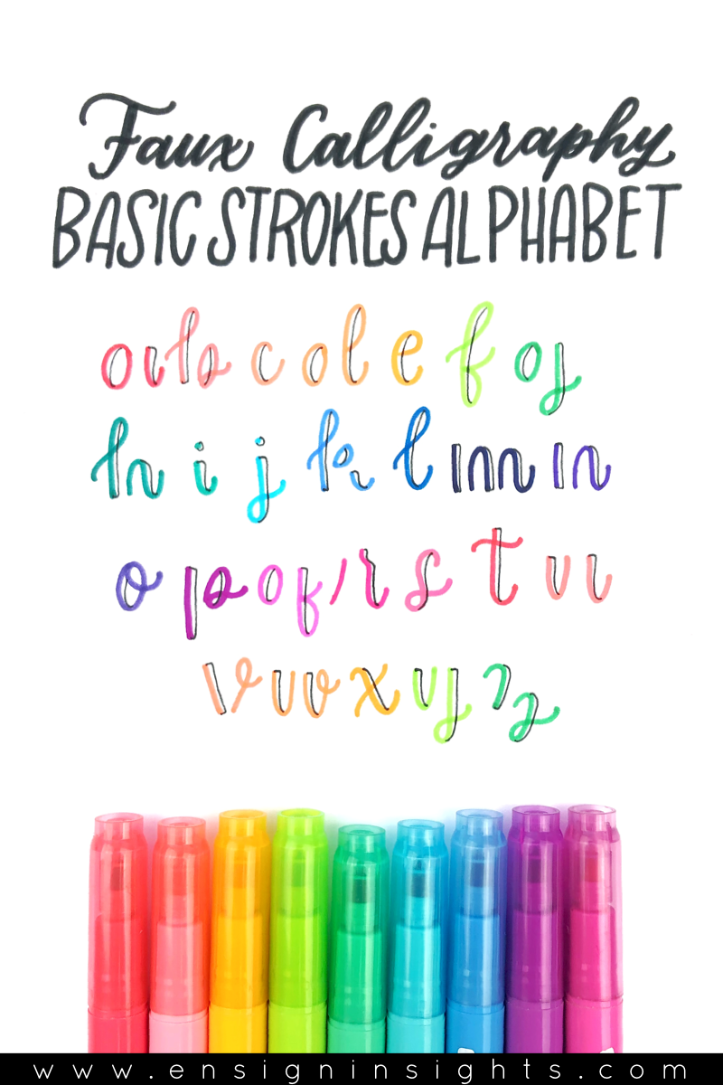 Faux Calligraphy Basics Tutorial. Faux Calligraphy Basic Strokes Alphabet. Are you learning calligraphy and hand lettering but don't know where to start? This lettering tutorial is for you. | Ensign Insights