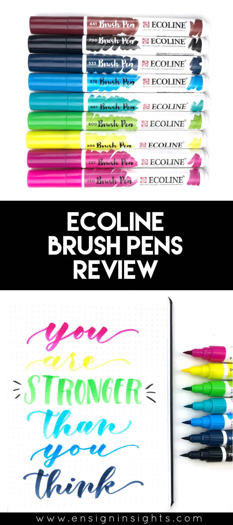 Ecoline watercolor brush pens review. These are liquid watercolor brush pens with high quality ink. I'll give you a full review so you know if they fit with your lettering style. I'll also compare these to Karin Markers. | Ensign Insights
