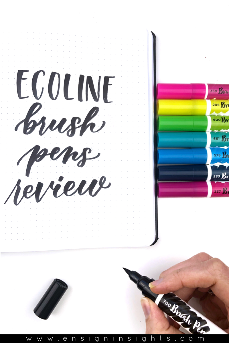 Ecoline brush pens review. These are liquid watercolor brush pens with high quality ink. I'll give you a full review so you know if they fit with your lettering style. I'll also compare these to Karin Markers. | Ensign Insights