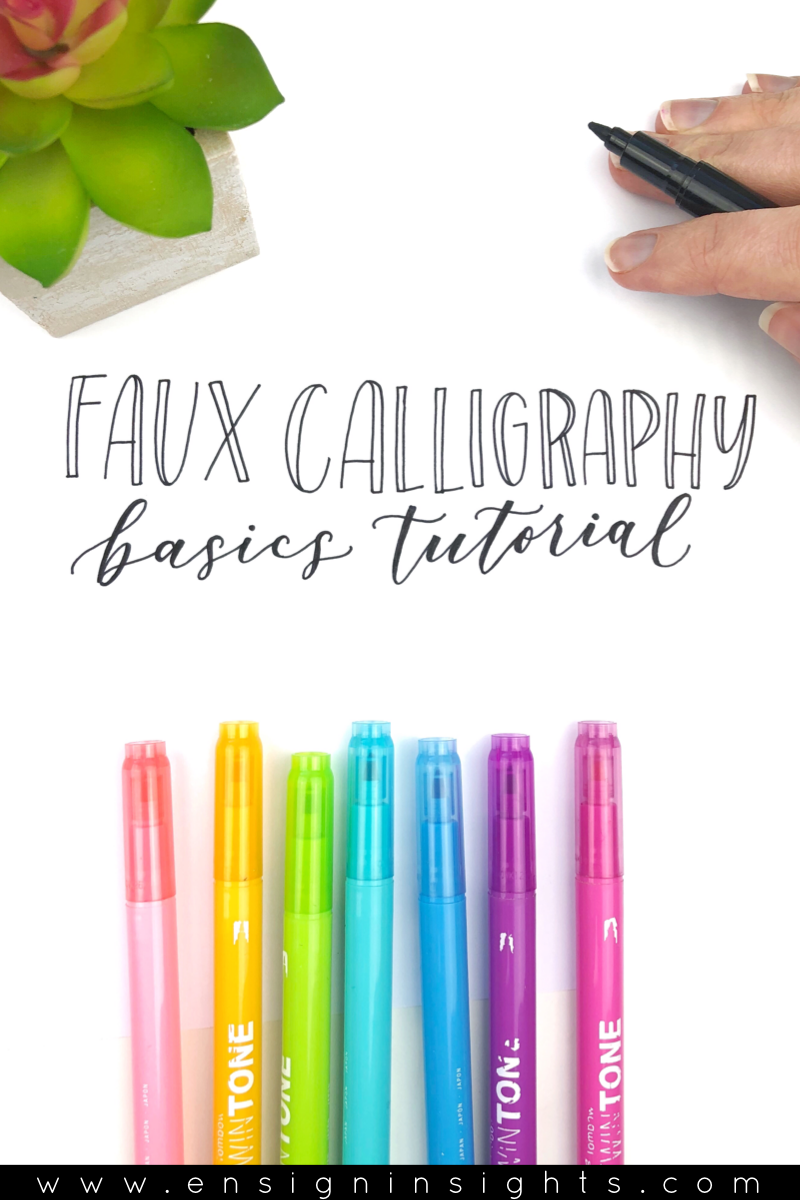 Faux Calligraphy Basics Tutorial. Are you learning calligraphy and hand lettering but don't know where to start? This lettering tutorial is great for hand lettering beginners. | Ensign Insights