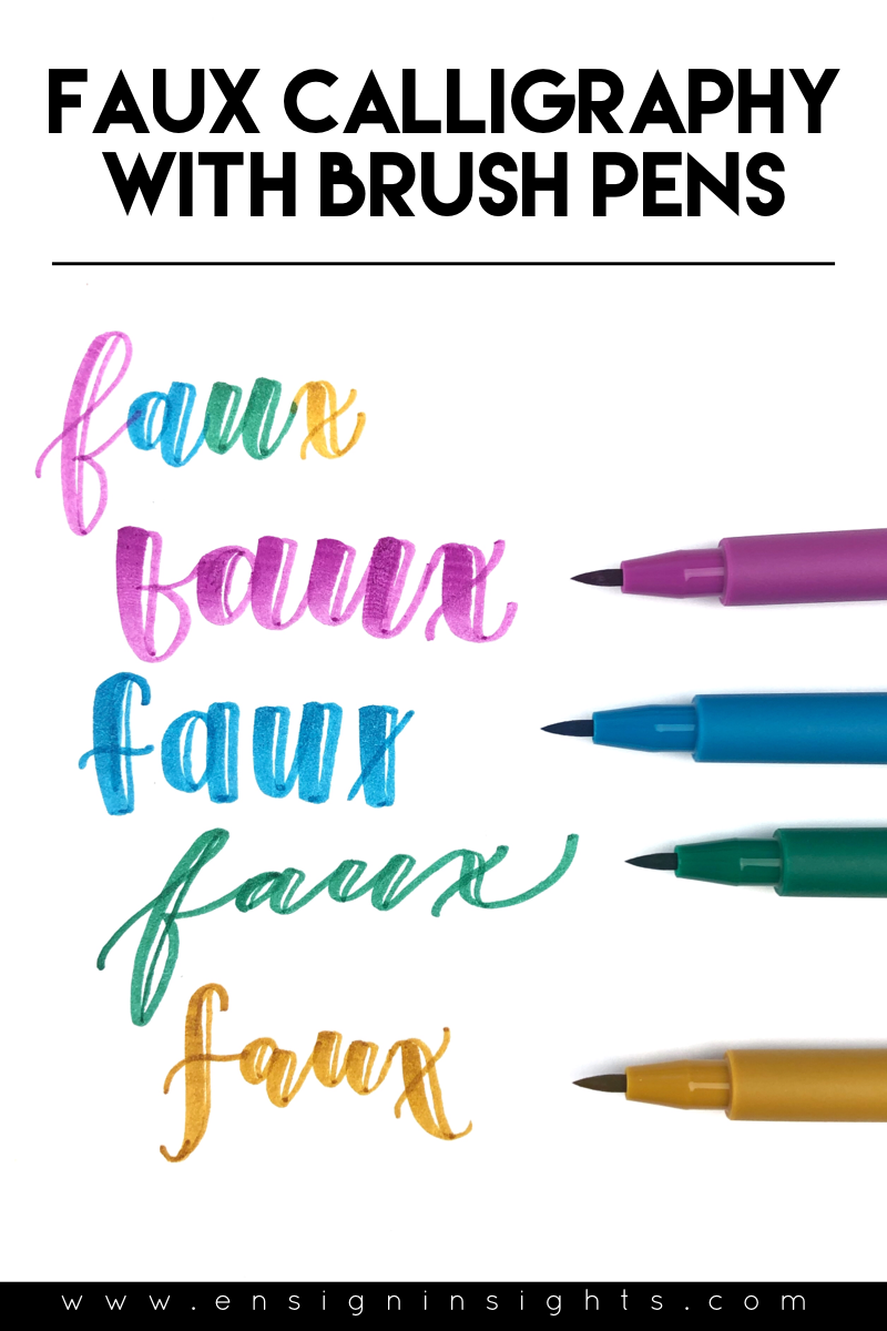 Faux Calligraphy with Brush pens using faber-castell pitt artist brush pens. Enjoy this hand lettering tutorial! | Ensign Insights
