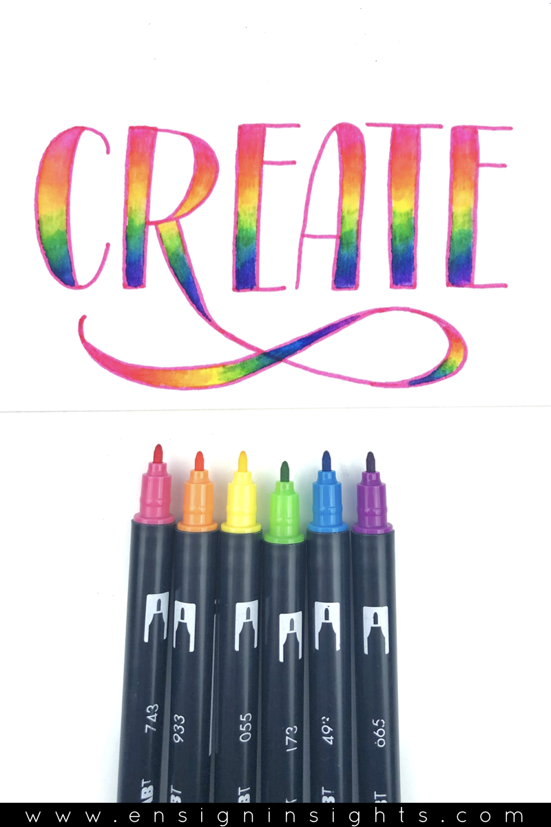 You want beautiful rainbow blends but don't want to ruin your brush pens? In this tutorial, I'll show you how to do rainbow lettering with faux calligraphy using Tombow dual brush pens. | Ensign Insights