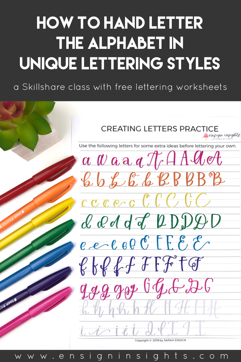 Hand lettering worksheets to create unique lettering styles. | Ensign Insights