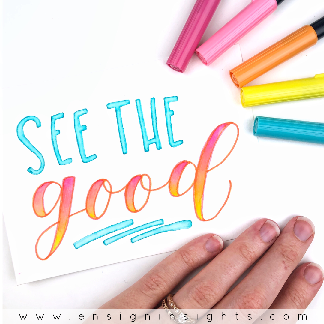 Blending brush pens is a simple way to add color to your hand lettering. Here are 3 ways to blend Tombow Dual Brush pens without fraying them! | Ensign Insights