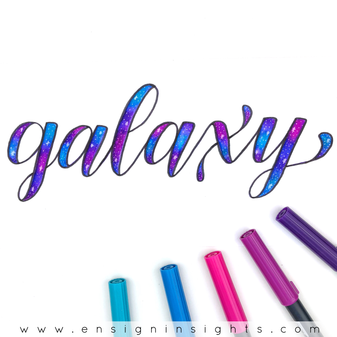 Blending brush pens is a simple way to add color to your hand lettering. Here are 3 ways to blend Tombow Dual Brush pens without fraying them. One way creates beautiful galaxy lettering! | Ensign Insights