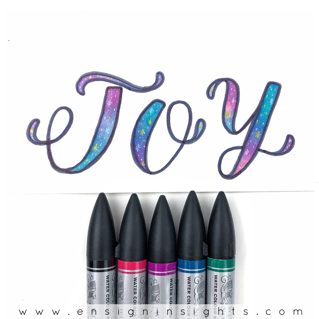 Galaxy Lettering brush pens. See a comparison of this beautiful galaxy lettering technique with all different brush pens in this post. | Ensign Insights
